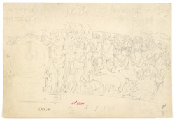 West gate, Sanchi. Centre of middle section of architrave on front, working drawing of detail